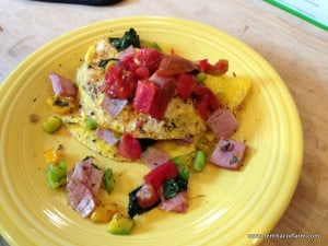 typical breakfast omelette that takes no time at all if vegetables are chopped in advance