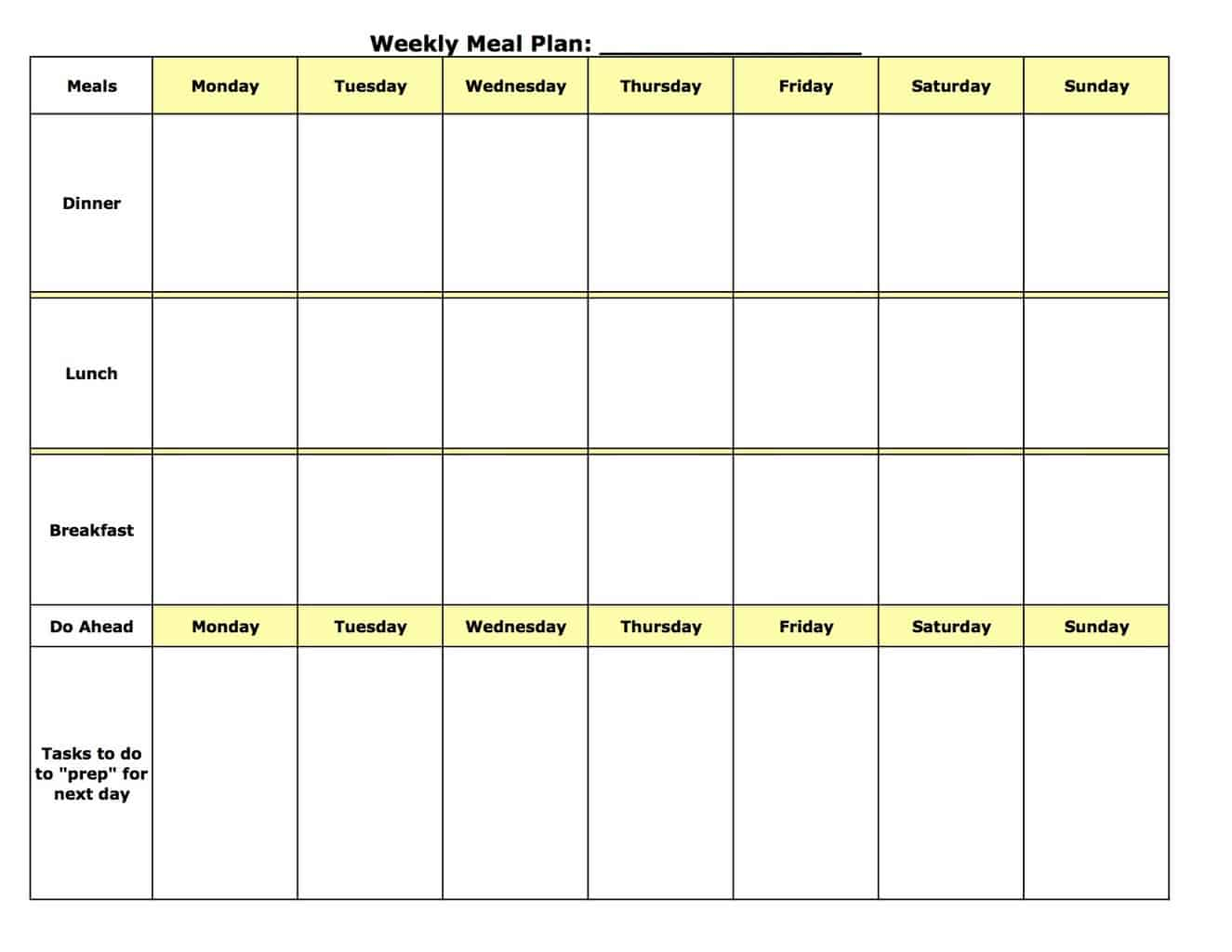 Meal plan template xhOqdQXy